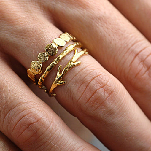 14k Pebble Raw Twig Ring Set