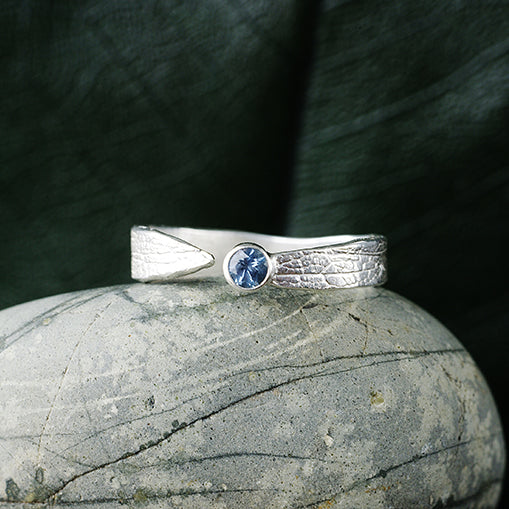Silver Sapphire Leaf Ring