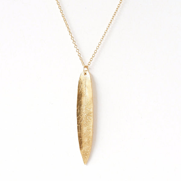 14k Gold Large Single Leaf Necklace