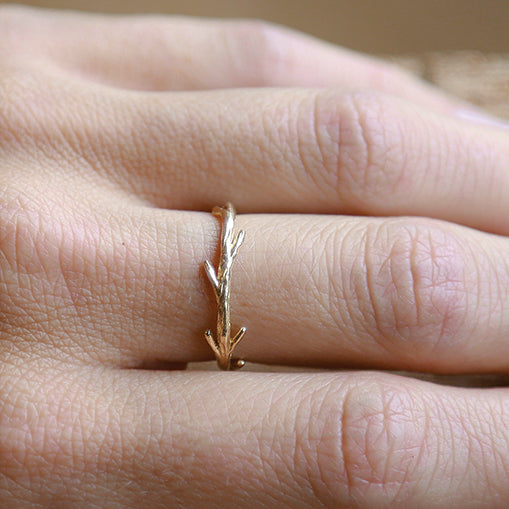14k Gold and Silver Simple Twig Set