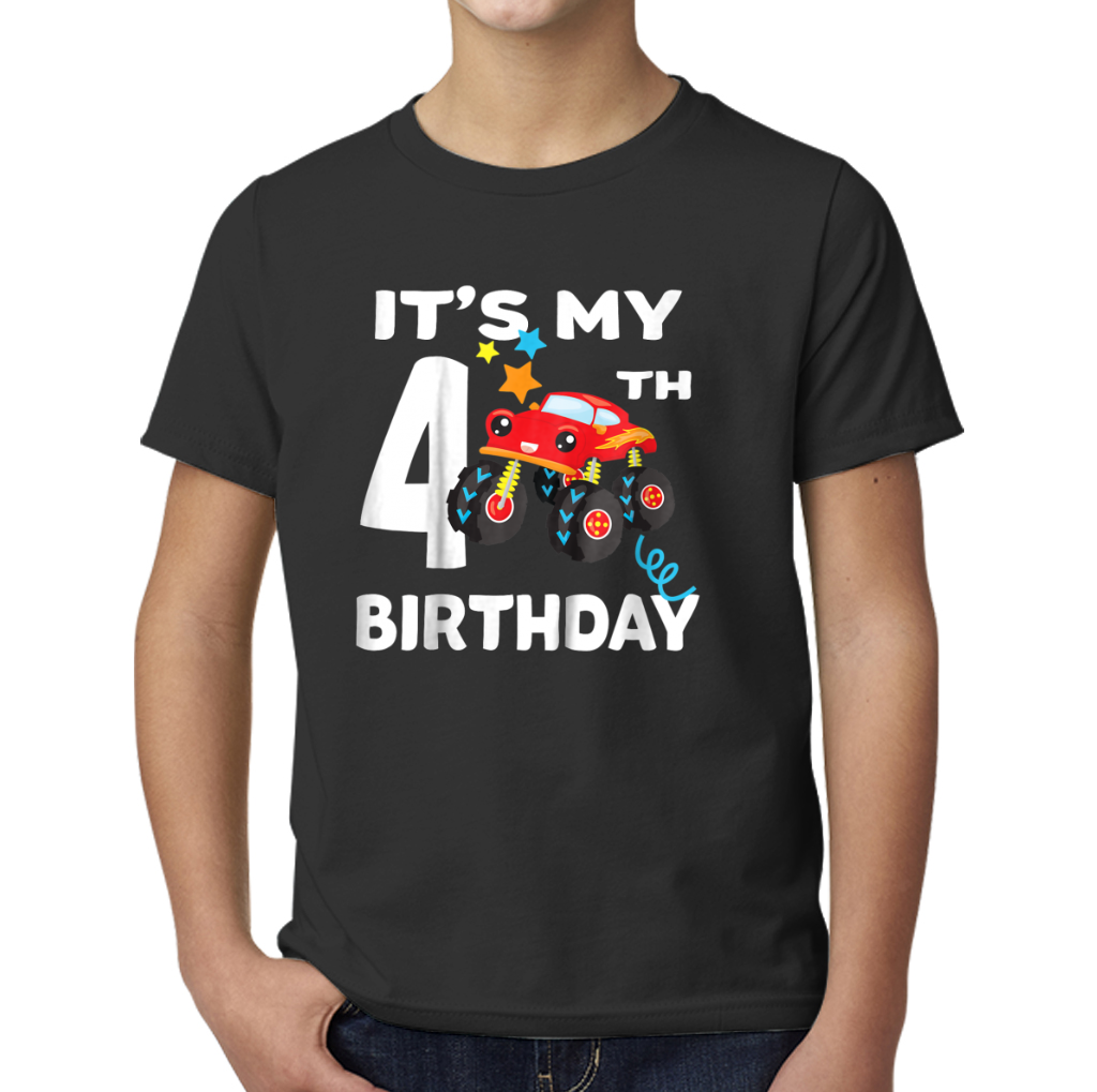 Kids 4 Year Old Birthday Boy Gift Monster Truck Shirt Young T Shirts