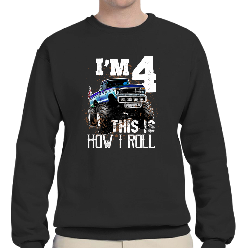 Kids This Is How I Roll Monster Truck 4th Birthday Shirt Boy Gift