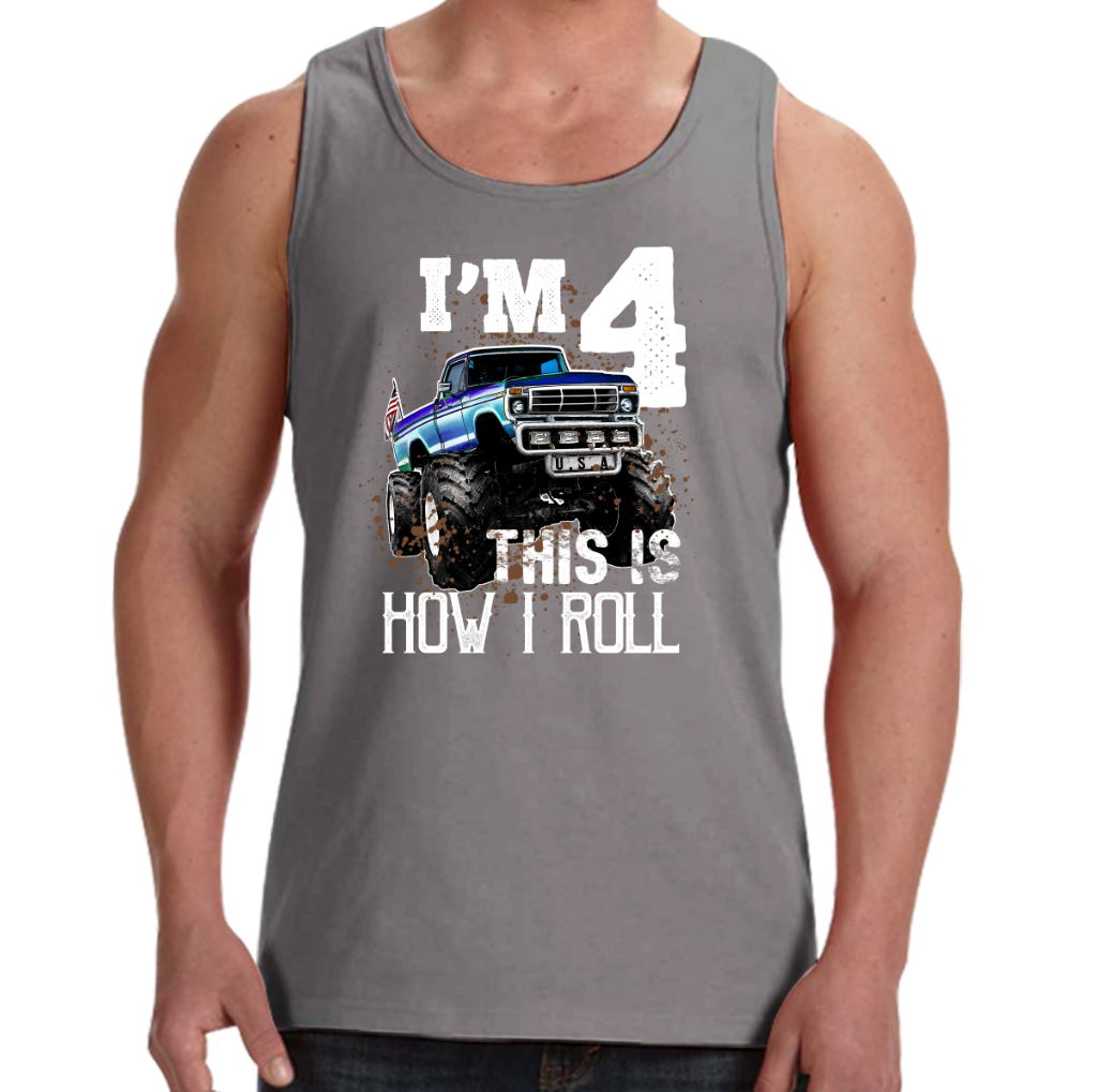 Kids This Is How I Roll Monster Truck 4th Birthday Shirt Boy Gift Mens Tank
