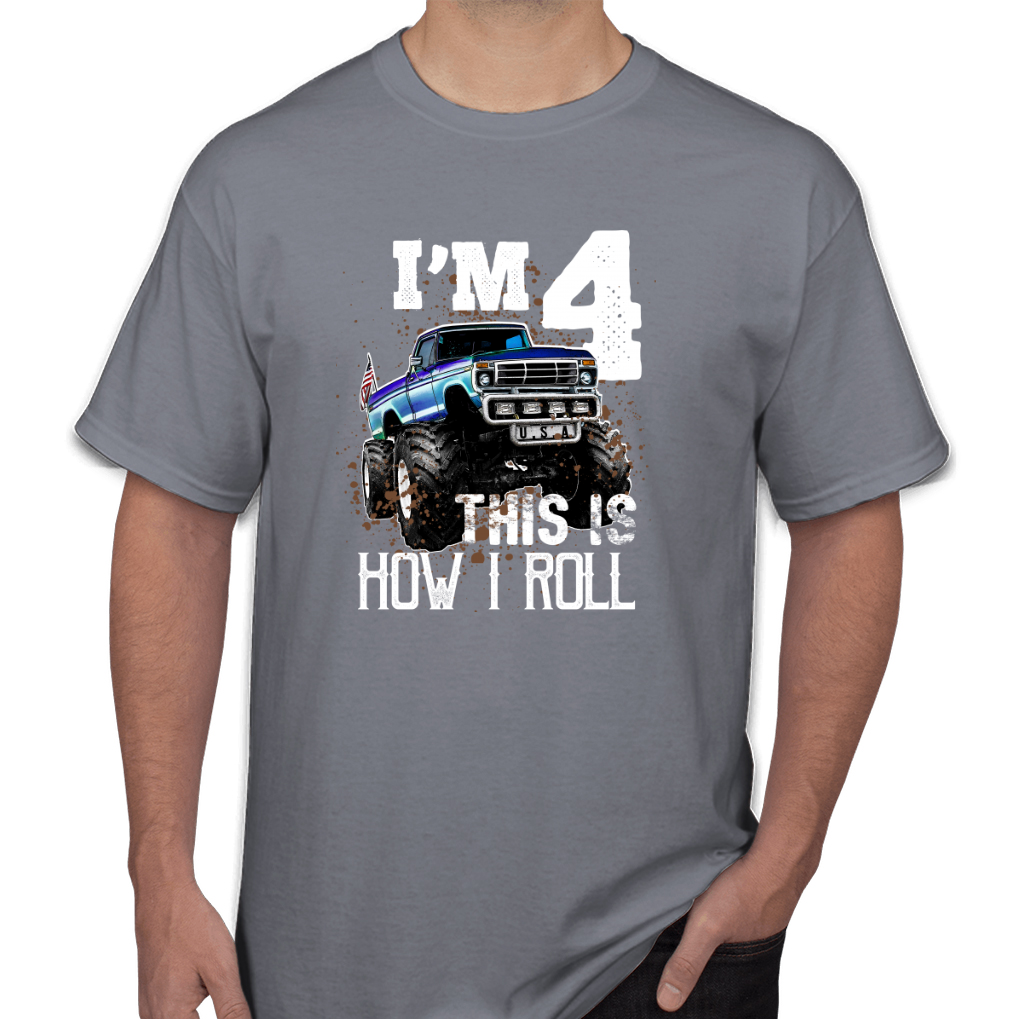 Kids This Is How I Roll Monster Truck 4th Birthday Shirt Boy Gift Mens T