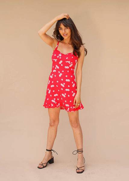reformation inspired red floral mini dress with tie straps and ruffle hem