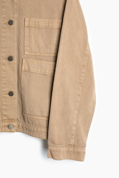 Long Sleeve Tan Denim Jacket with Snap Button Closure and Collar