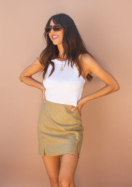 90's inspired, Checkered mini skirt with two small slits