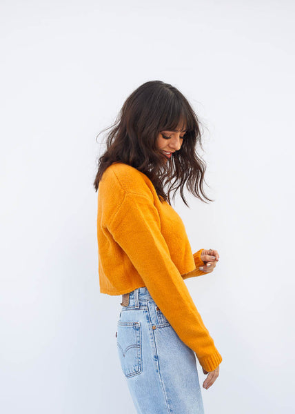 Cropped Knit Sweater with Brown Button Enclosure, Deep Yellow Color
