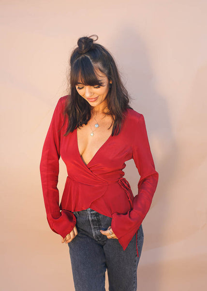 Cranberry Red Wrap Top, Small Slitted Bell Sleeves, Plunging Neckline