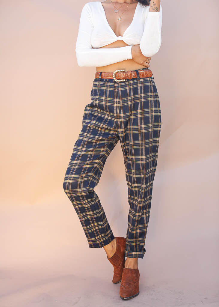 Navy and Plaid Pants, Trousers, Button and Zipper Enclosure with Belt Loops