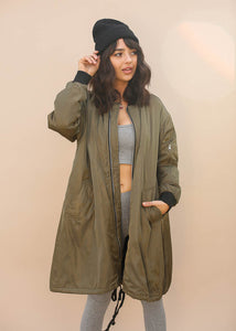 Oversized, Long Bomber Jacket, Exposed Zipper Enclosure and Drawstring Botttom, Army Green Color with Black Details