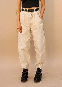 Slouchy High Rise Pants, Pleated and Tapered Bottom, Tan, Off-White Color