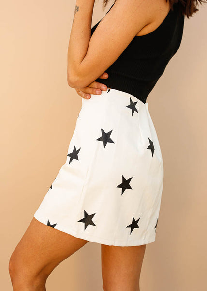 White Ivory Mini Skirt, Vegan Leather, Skirt with Black Stars, Hidden Zipper in Back