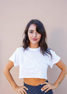 Perfect white boxy cropped tee
