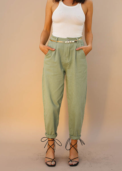 Slouchy High Rise Pants with Pleats and Tapered Bottom, Green Color