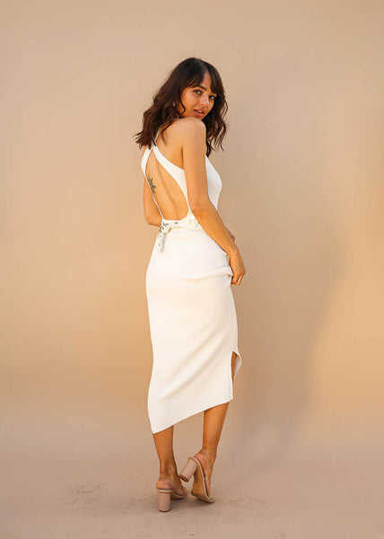 White Ribbed Fitted Tank Dress with Open Back, Small Side Slits, Criss Cross Straps, White Color