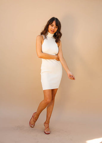 Fitted, Ribbed, Sleevless Turtlenck Dress, Above the Knee Length, White Color