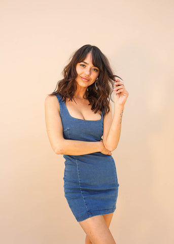 Denim Body-Con Mini Dress, Hidden Zipper Enclosure, Denim Color