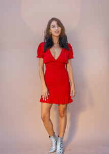 red mini dress. smocked body mini dress. ruffle hem mini dress.