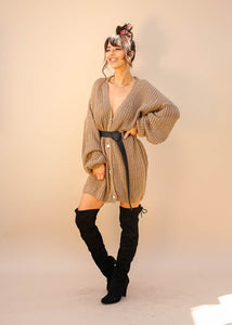 Oversized Button Down Knit, Dress Length, Tan Color