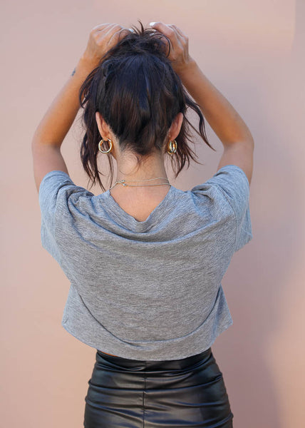 Boxy cropped tee in heather gray