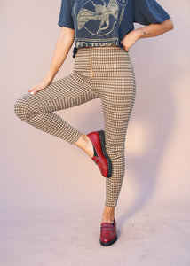 Mustard plaid cigarette pants with exposed silver ring zipper