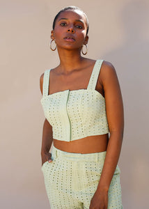sleeveless eyelet crop top with front zipper closure. Green Crop top. Summertime top