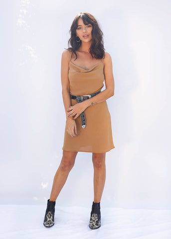 Cowl Neck Mini Dress, Adjustable Straps, Tan Color