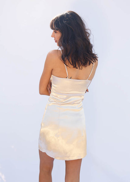 Silk Polyester Mini Dress, Adjustable Straps, Hidden Side Zipper, Light Gold Silk