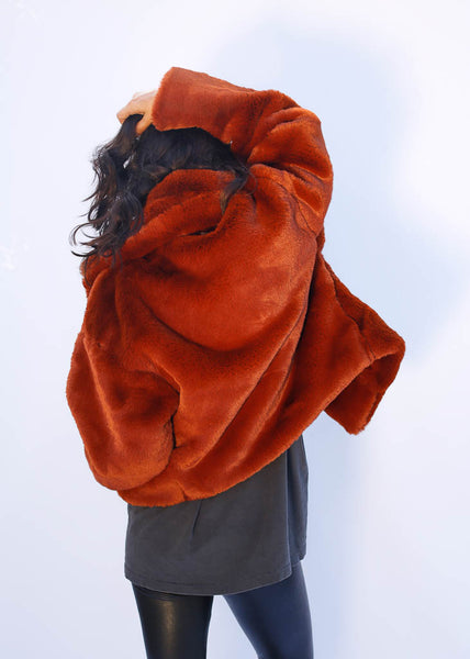 Faux Fur Coat with silk lining and large color, Red/Orange Coloring, Hits at Waist