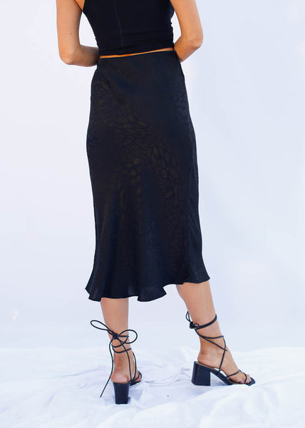 Black Cheetah print Midi skirt, hidden elastic waist