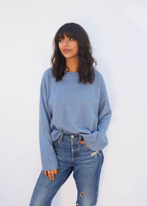 Baby Blue Sweater, Ribbed Collar, Oversized look and fit