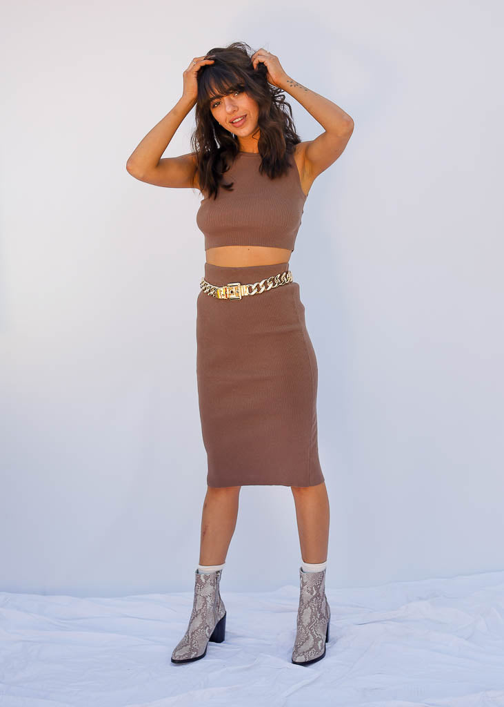Taupe Ribbed Sweater Set, Skirt and Tank Included, Sweater Material