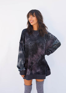 Oversized Tie Dye Sweatshirt Dress, Blue and Grey