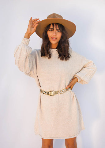 Oversized Sweater Dress with Patterend Sleeves, Oatmeal Color