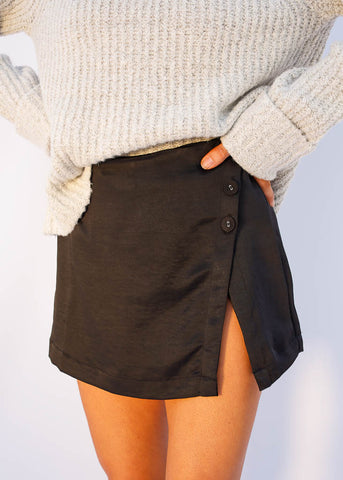 Sheen Black Skort, Decorative Button detail and hidden back zipper