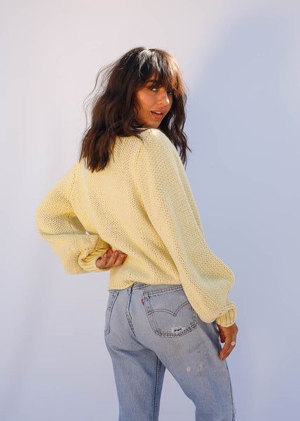 Oversized Knit Sweater, Slightly Puffed Sleeve, Yellow Lemonade Color