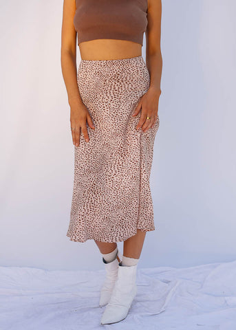 Pink Cheetah Midi Skirt, Pink Cheetah Print, Hidden Zipper