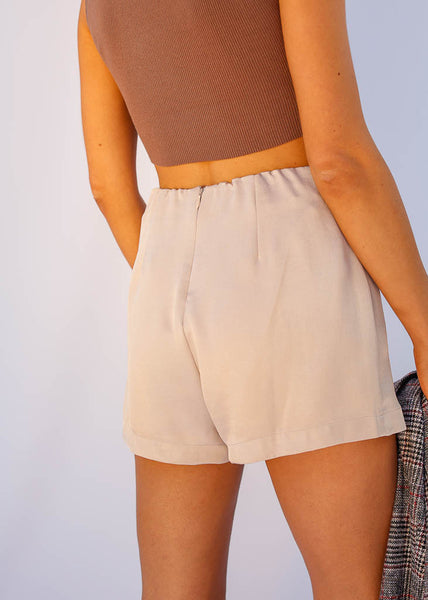 Sheen Taupe Skort, Decorative Button detail and hidden back zipper