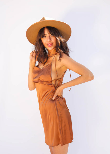 Lighweight Slip Dress with Tie Straps, Cocao Color, Side Tie detail, Hidden side zipper