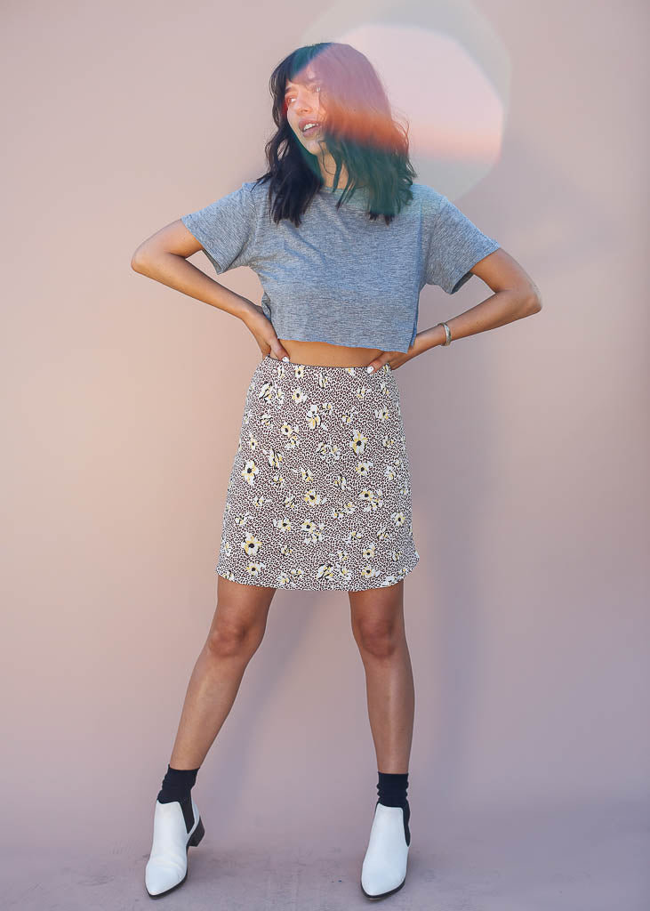Cheetah and Floral Print Mini Skirt with hidden elastic waist