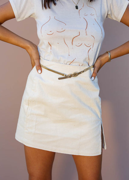 Ivory Corduory Mini Skirt, Stretchy Material, Side Slit with Zipper