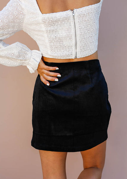 Black Corduroy Mini Skirt, Stretchy Material, Side Slit with Zipper