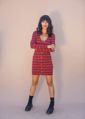 Very fitted extra stretchy bodycon dress, long sleeves and full button-up front
