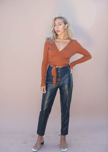 Ribbed Longsleeve Wrap Sweater, Rust Color
