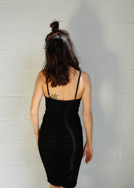 Black Mesh Dress with built in underwire. Black See through dress. Stretchy Black Dress. Night out Dress