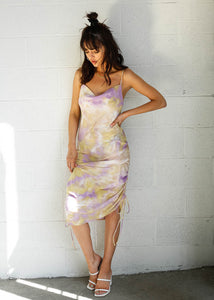 Tie Dye Slip Dress with cowl neck, side ties, and key hole in back. Tie Dye maxi dress, purple and yellow dress