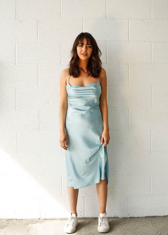 Sky Blue midi slip dress with low back. Side slit