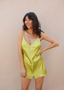 sexy satin romper with low back. Cute paired with a vintage tee. Lime Green Silk Romper