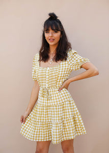 Green Gingham mini dress with square neck. Green Gingham Dress. Spring Dress